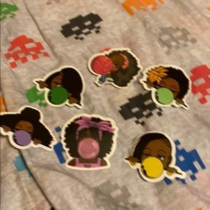Set of 6 black girl stickers